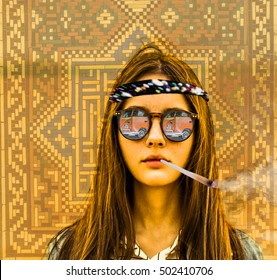 holidays, travel, vacation happiness concept. woman in sunglasses with reflection. Hippie mobile car in glasses. Young girl smoke marijuana against  mosaic wall on background