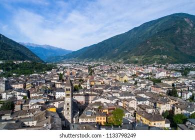 Holidays in Valtellina, panoramic view of city of Tirano