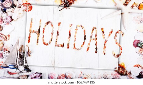 Holidays Vintage wood frame with sea shells, the banner template for design and web