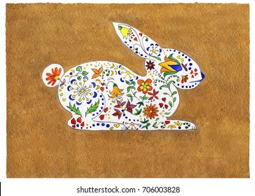 Holidays watercolor and pen illustration of a rabbit with colorful flowers on a golden background.