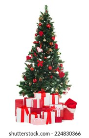 holidays, winter and celebration concept - christmas tree and presents