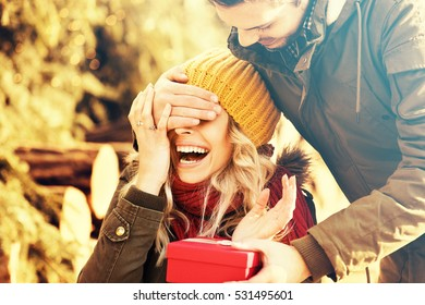 Holidays, winter, love concept. Happy Couple enjoying holidays.