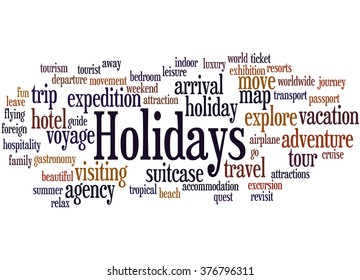 Holidays word cloud concept on white background.