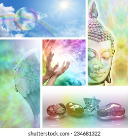 Holistic Healing Collage -  Five aspects of alternative therapy including Angels, crystal healing, color healing, sending distant healing and Buddhism
