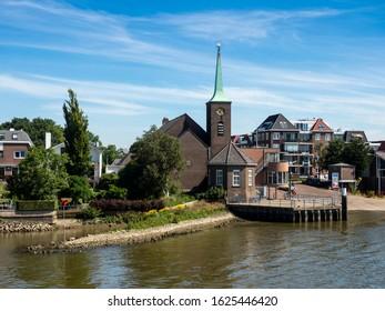 HOLLAND - 07/04/2019:  View of Krimpen aan de Lek - a town on the Lek River