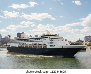 The Holland America cruise ship MS Maasdam leaves the port of Montreal on Saturday, July 7, 2018.