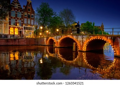 Holland, Amsterdam - September 14, 2018 - Amsterdam Canals by Night