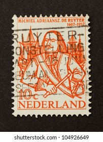 HOLLAND - CIRCA 1950: Stamp printed in the Netherlands shows a picture of Michiel Adriaansz de Ruyter, circa 1950
