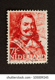 HOLLAND - CIRCA 1950: Stamp printed in the Netherlands shows a drawing Michiel Adriaanszoon de Ruyter, circa 1950