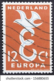 HOLLAND - CIRCA 1960: Stamp printed in the Netherlands shows Hollands connection with Europe, circa 1960
