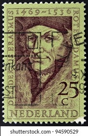 Holland - CIRCA 1990: A stamp printed in the Netherlands shows Erasmus of Rotterdam, circa 1990