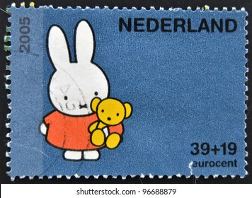 HOLLAND - CIRCA 2005: A stamp printed in the Netherlands shows Miffy the Bunny, by Dick Bruna, circa 2005