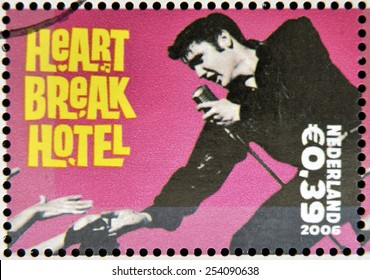 HOLLAND - CIRCA 2006 A stamp printed in Holland shows Elvis Presley, Heart break Heart, circa 2006