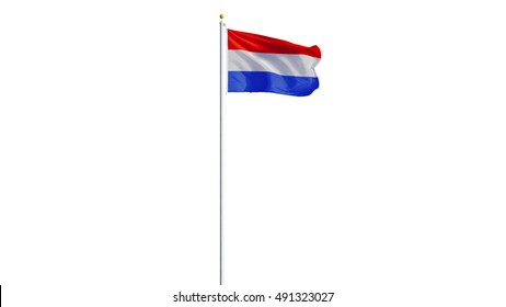Holland flag waving on white background, long shot, isolated with clipping path mask alpha channel transparency