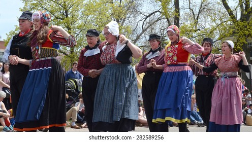 HOLLAND, MI - MAY 3: Tulip Time Festival dancers perform a mother-daughter dance in Holland, MI May 3, 2015.