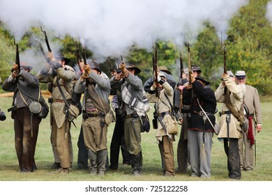 Holland Mi - September 17th, 2017. Actors dressed as Confederate Soldiers during a Civil War Reenactment.