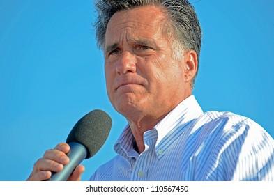 HOLLAND, MICHIGAN - JUNE 19, 2012: Mitt Romney campaign rally at Holland State Park, June 19, 2012 in Holland, Michigan