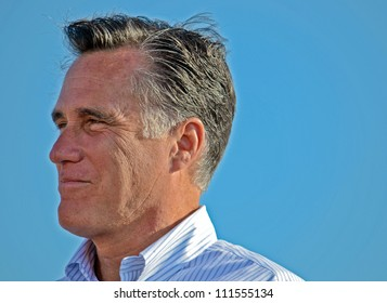 HOLLAND, MICHIGAN - JUNE 19: GOP presidential candidate Mitt Romney appears at a campaign rally at Holland State Park, June 19, 2012 in Holland, Michigan.