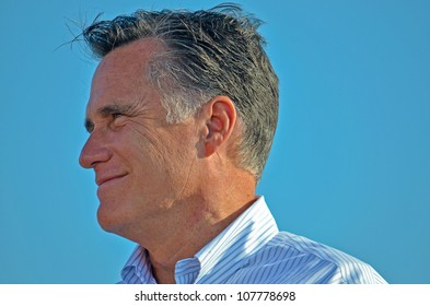 HOLLAND, MICHIGAN - JUNE 19: Mitt Romney during a campaign rally at Holland State Park on June 19, 2012 in Holland, Michigan