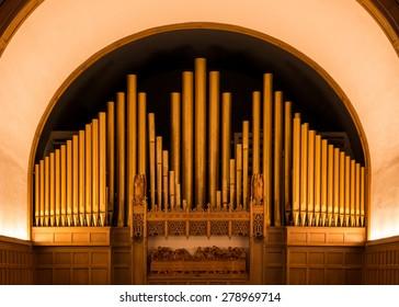 HOLLAND, MICHIGAN - MAY 12: Pipe organ inside the Hope Church on May 12, 2015 in Holland, Michigan