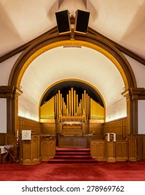 HOLLAND, MICHIGAN - MAY 12: Pipe organ in the Hope Church on May 12, 2015 in Holland, Michigan