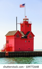 """Holland, Michigan South Pierhead Lighthouse is known as """"Big Red."""""""