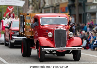 Holland, Michigan, USA - May 11, 2019: Tulip Time Parade, Old Meijers Chevrolet Truck, going down the road during the parade