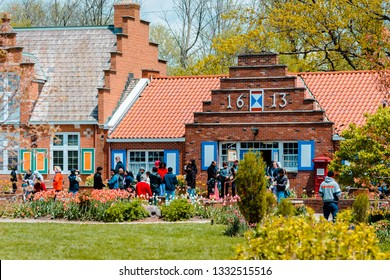 Holland, Michigan / USA - May 14th 2016: Tourist shops on windmill island in Holland Michigan during tulip time