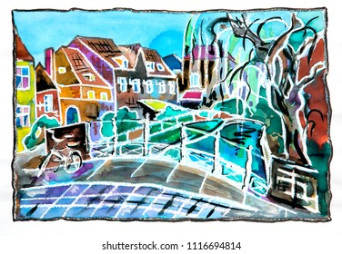 Holland street and bridge, watercolor and pastel illustration
