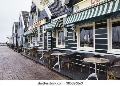 Holland, Volendam (Amsterdam); 9 October 2011, old stone houses in the port - EDITORIAL