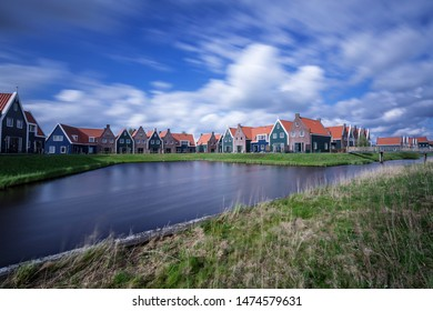 Holland, Volendam - April 25, 2018: typical holland architecture in small village.