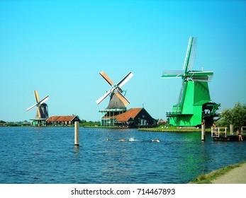 Holland windmills on the sea