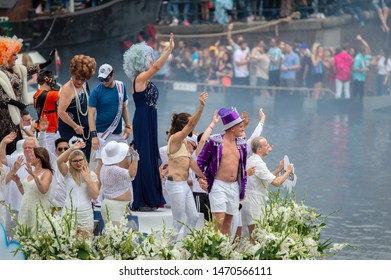 Hollandse Uitvaart Boat At The Gaypride Amsterdam The Netherlands 2019