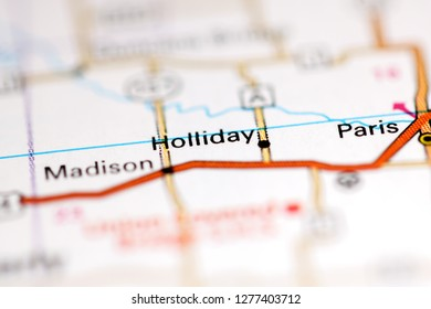 Holliday. Missouri. USA on a geography map