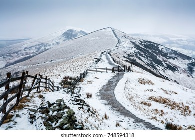 Hollins Cross, Back Tor and Lose Hill in winter. Viewed from Mam Tor, Peak District, UK
