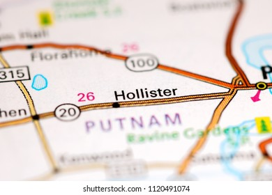 Hollister. Florida. USA on a map