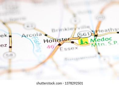 Hollister. North Carolina. USA on a geography map