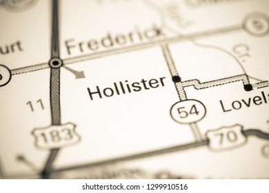 Hollister. Oklahoma. USA on a map