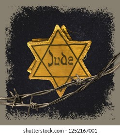 Hollocaust remembrance day, yellow star on black with barbed wire. The word Jude means Jew in German.