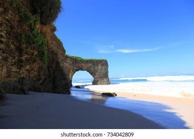 Hollow cliff on Mbawana Beach, Sumba, Indonesia
