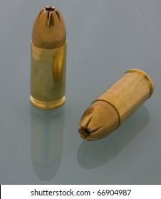 hollow point bullets on cartridges for a 9 mm