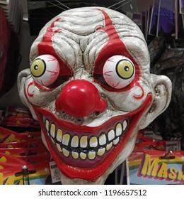 Holloween Mask Costume. Creepy Zombie. Creepy Clown.
