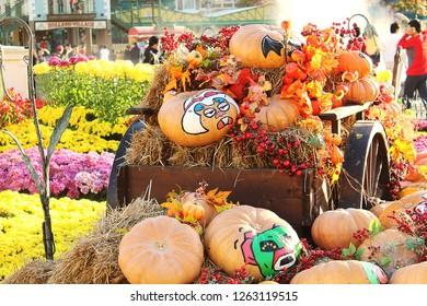 holloween pumpkins in theme park