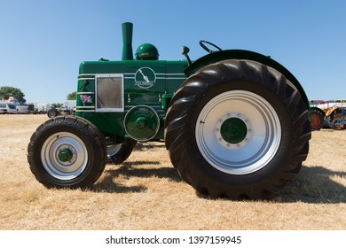 Hollowell, Northamptonshire / UK - July 8th 2018: A beautifully restored green Field Marshall Model 3A tractor on show at the annual Hollowell Steam and Heavy Horse Show.