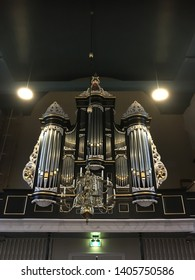 Hollum, Ameland the Netherlands, april-5-2019: Interior with his Pipe Organ of the church of Hollum, Ameland.