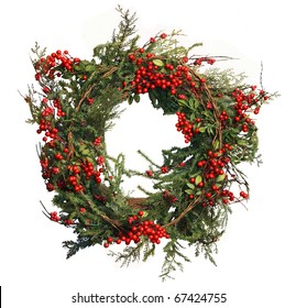 Holly Berry and Pine Christmas Wreath to celebrate the holiday season or use as stationary to send a holiday greeting!