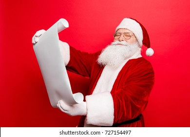 Holly jolly x mas, noel is soon! Cheerful saint nicholas studying list of children's wishes and presents, on white paper whatman, smiling and ready to make dreams come true, happiness to kids