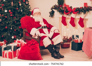 Holly jolly x mas, noel is coming! Friendly positive santa with sack big bag of surprises, ready to make kids dreams come true, bring happiness to children