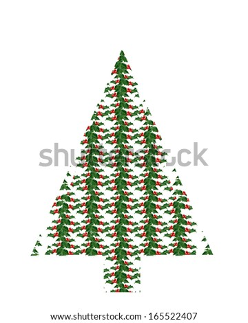 Holly Sprig Christmas Tree Shape Stock Photo Edit Now 165522407
