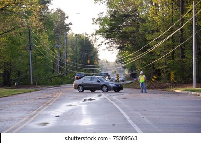 HOLLY SPRINGS, NC, USA - APRIL 16: A tornado causes severe damage to the town of Holly Springs on April 16, 2010 in Holly Springs, NC, USA